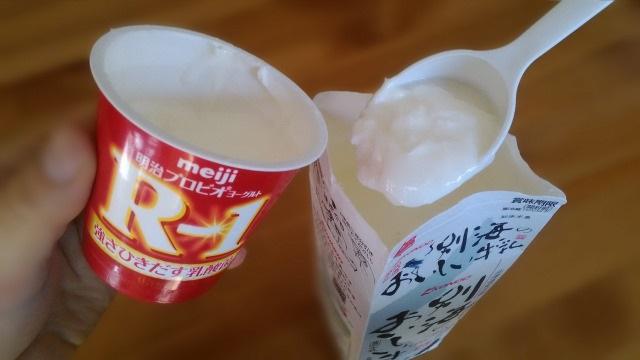 ヨーグルトを牛乳と混ぜる